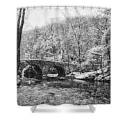 Snow Along The Wissahickon Creek Shower Curtain by Bill Cannon
