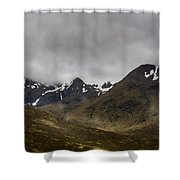 Snow And Fog Over Glengo Mountain In Scotland. Shower Curtain
