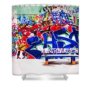 Snow And Graffiti Shower Curtain