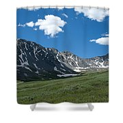 Snow And Mountains And Grass Shower Curtain