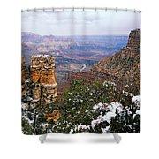 Snow And Pillar - Grand Canyon Shower Curtain