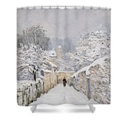 Snow At Louveciennes Shower Curtain by Alfred Sisley