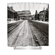 Snow At The Colosseum - Rome Shower Curtain