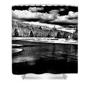 Snow At The River - Bw Shower Curtain