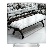 Snow Bench Shower Curtain