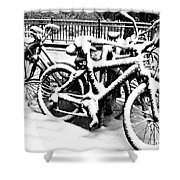 Snow Bicycles Shower Curtain