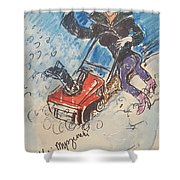 Snow Blowing Shower Curtain