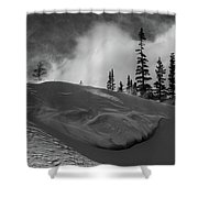 Snow Circle In The Mountains Shower Curtain