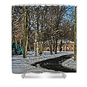 Snow Cleared Road Shower Curtain