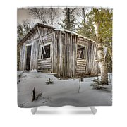 Snow Covered Abandon Cabin Shower Curtain