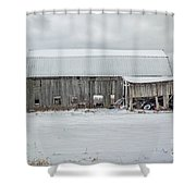 Snow Covered Barn Shower Curtain