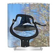 Snow Covered Bell Shower Curtain by D K Wall