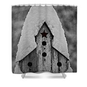 Snow Covered Birdhouse Shower Curtain