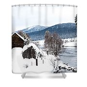 Snow Covered Cabin Shower Curtain