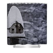 Snow Covered Elf Birdhouse Shower Curtain