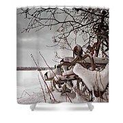 Snow Covered Farming Equipment Shower Curtain