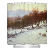 Snow Covered Fields With Sheep Shower Curtain by Joseph Farquharson