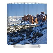 Snow-covered Fins And La Sal Mountains Shower Curtain