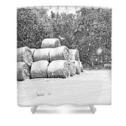 Snow Covered Hay Bales Shower Curtain