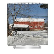 Snow Covered Masachussetts Barn Shower Curtain