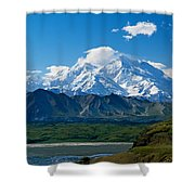Snow-covered Mount Mckinley, Blue Sky Shower Curtain