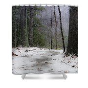 Snow Covered Path Quantico National Cemetery Shower Curtain
