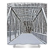 Snow Covered Pony Bridge Shower Curtain