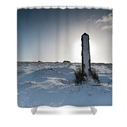 Snow Covered Post II Shower Curtain