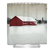 Snow Covered Red Barn Shower Curtain