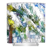 Snow-covered Tree Branch  3 Shower Curtain