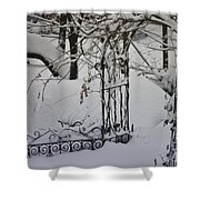 Snow Covered Wisteria Arch Shower Curtain