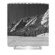 Snow Dusted Flatirons Boulder Co Panorama Bw Shower Curtain