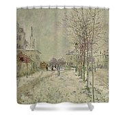Snow Effect Shower Curtain by Claude Monet