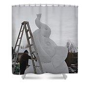 Snow Elephant Shower Curtain