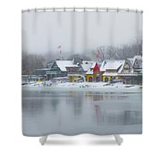 Snow Falling On Boathouse Row Shower Curtain