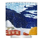 snow falling on Istanbul Shower Curtain