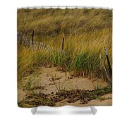 Snow Fence In Sand Shower Curtain