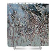 Snow Grass Happiness Shower Curtain
