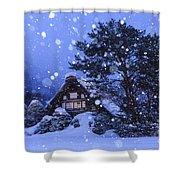 Snow, Historic Villages Of Shirakawa, Japan Shower Curtain