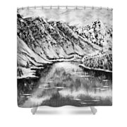 Snow In November Black And White Shower Curtain