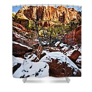 Snow In The Canyons Shower Curtain