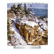 Snow In The Park Acadia Maine Shower Curtain