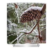 Snow In The Pines Shower Curtain