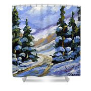 Snow Laden Pines Shower Curtain