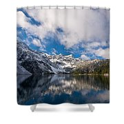 Snow Lake Vista Shower Curtain