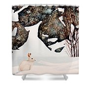 Snow Ledges Rabbit Shower Curtain