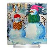 Snow Mom And Son Shower Curtain