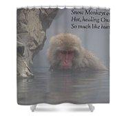 Snow Monkey Onsen - Haiku Shower Curtain