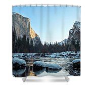 Snow On Large Rocks With El Capitan In The Background Shower Curtain