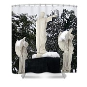 Snow On The Angels  Shower Curtain